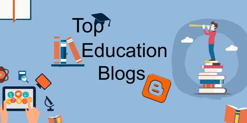 Text Written Top Education Blog In A Blue Background.