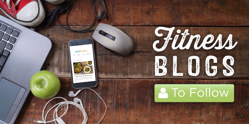 A Table Having Fitness Equipments & Text That Written Fitness Blogs To Follow.