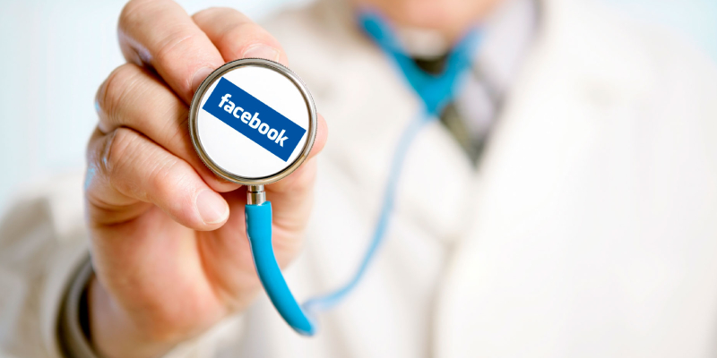 A Doctor Showing His Stethescope That Representing Facebook Text.