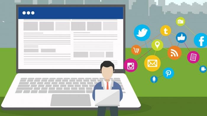 Illustration Of A Person Typing In Social Media Representing Social Media Marketing.